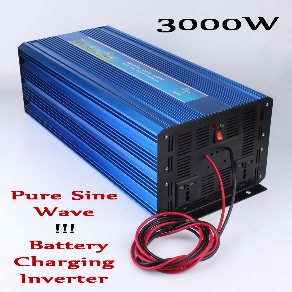 цена на 3000W Inverter 12V 24V DC to AC 110V/120V or 220V/230V, 6000W Peak Power Pure Sine Wave Output Inverter with Charger Function