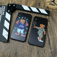 Cute Bear Italy Luxury brand phone cover case for iphone X XS MAX XR 10 8 7 6 6S plus fundas 3d relief soft matte silicon cases(China)