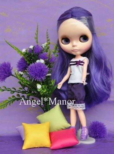 Free shipping Nude Blyth Doll, purple3 hair, big eye doll,For Girl's Gift,PJZ003 free shipping nude blyth doll black5 hair big eye doll for girl s gift pjb005