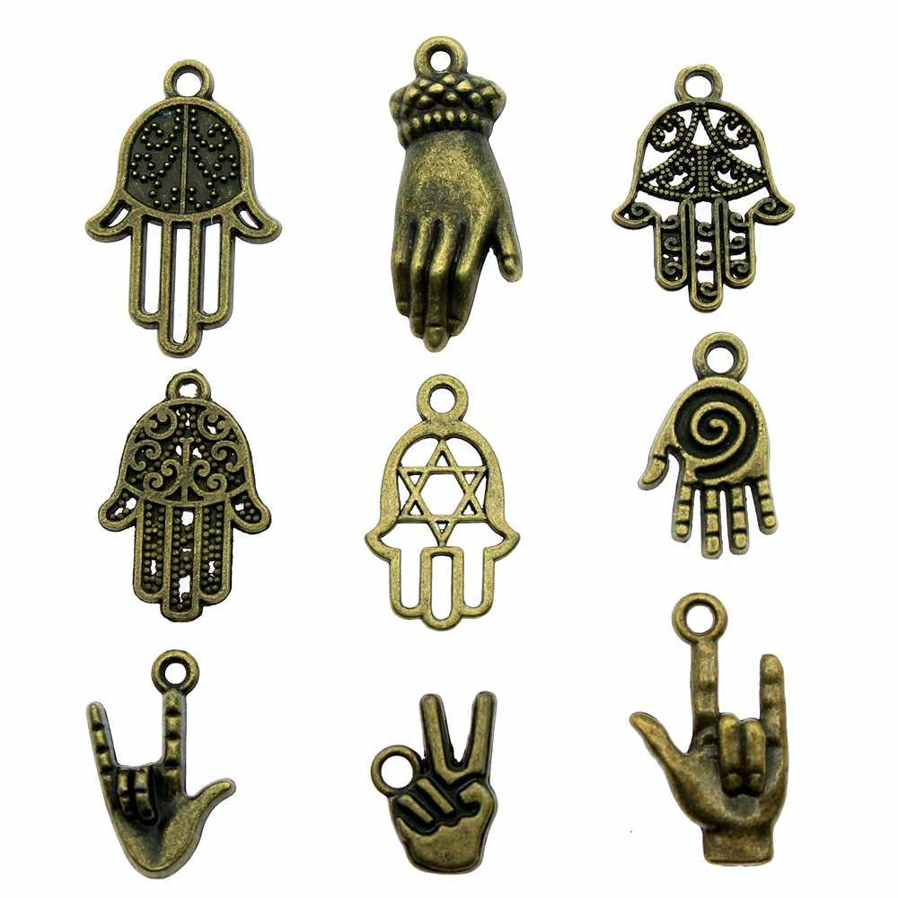 20pcs/lot Hands Charms Antique Bronze Color Hamsa Hand Charms Pendants For Bracelets Hands Charms Making Jewelry