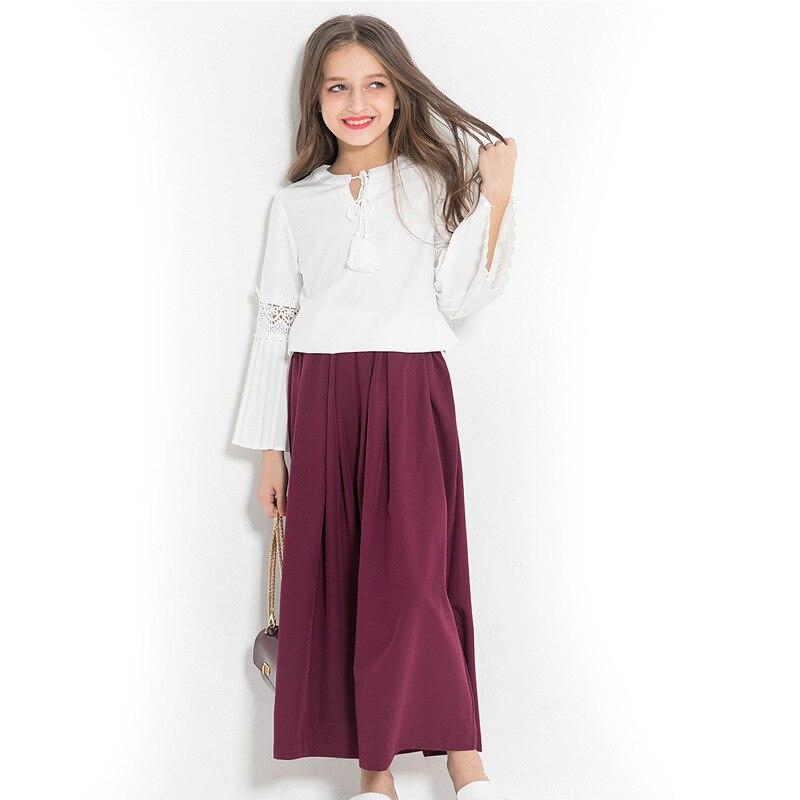 Trouses Terno Dois Conjuntos de Roupas Meninas das crianças Blusa Europeia & American Style Oco Blusas Soltas Ampla Perna Da Calça para adolescentes