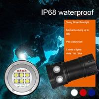 Бликовый фонарик для дайвинга, профессиональная подводная съемка, суперяркий заряжаемый, красный и синий ночной Дайвинг супер