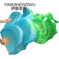 1 Pair Dance Fans Bamboo Ribs Natural Silk Stage Performance Props Dye Fans Women Belly Dance Silk Fans turquoise +green