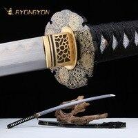 Ручной катана настоящий меч острый самурайский меч Япония ниндзя дамасский меч Сталь Полный Тан обкладка глиной ручной притирки лезвие A703