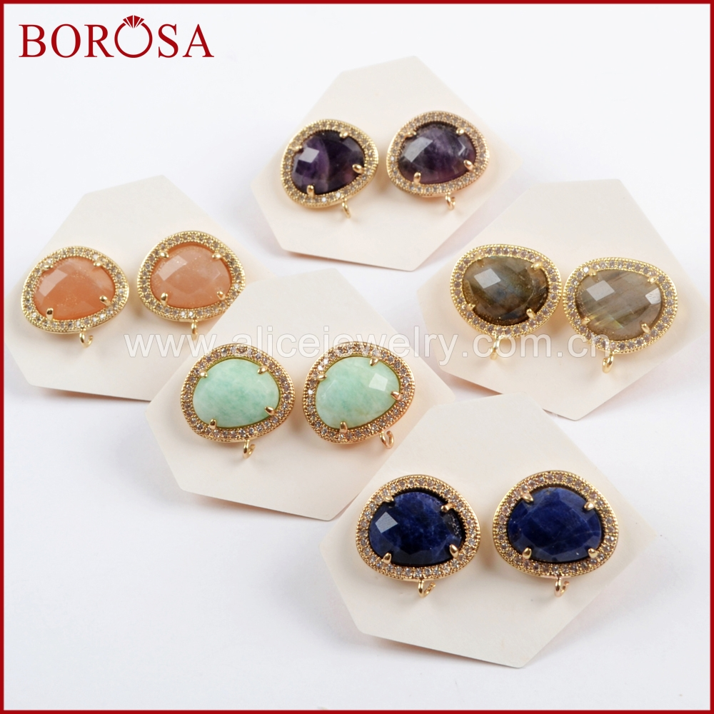 BOROSA 10Pairs New Micro Pave CZ Multi-kind Faceted Stone Stud Earring Natural Labradorite Amethysts Earrings for Women WX1033