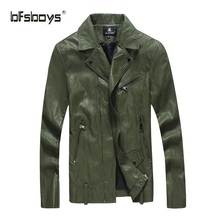 BFSBOYS 2017 New Top Mens Leather Jacket PU Zippers Slim Coats Cutting Autumn Winter Coat Leather Basic Men Jackets Hot Sale