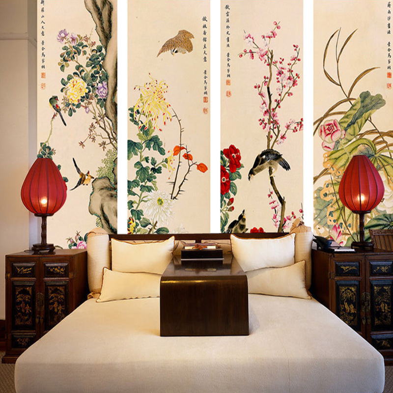 Custom living room sofa TV background wallpaper 3D large mural wall paper Chinese style painting flowers and birds classical large mural living room bedroom sofa tv background 3d wallpaper 3d wallpaper wall painting romantic cherry