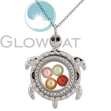 K1525 Silver Turtle Magnetic Glass Locket Necklace Pearl Cage Floating Living Memory Pendant Photo Charm Necklace(China)
