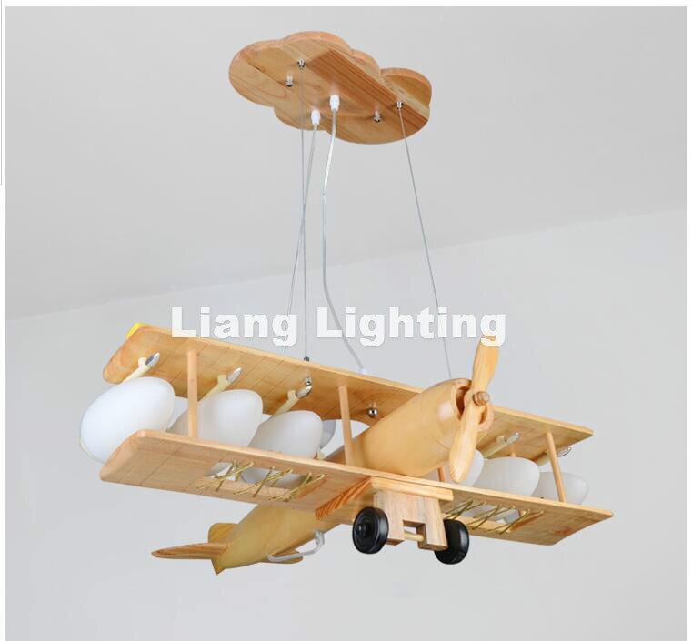 Decora Children Plane Pendant Lamp Modern Raw Wooden Design Pendant Lights Fixture Kids Children Bed Room Lighting Free Shipping