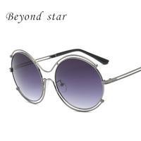 Beyond Star Round Sunglasses Women Mirror Shape Gradient Color Anti Reflective Sun Glasses Metal Frame Oculos
