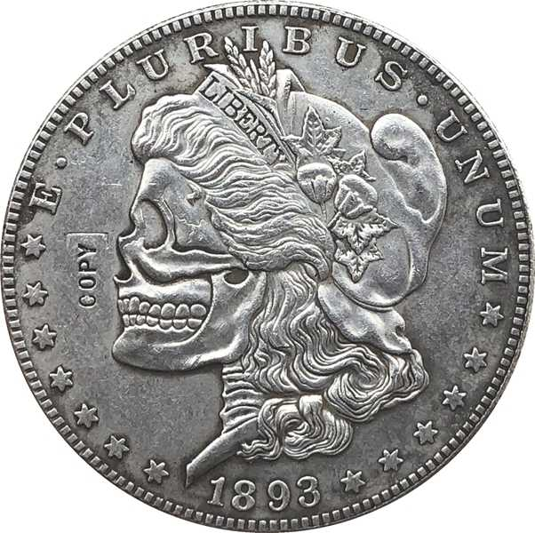 Hobo Nikkel twee gezicht 1893 VS Morgan Dollar COIN COPY