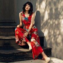VERRAGEE New Summer Printed women Rompers retro long wide leg vintage flower chic Jumpsuit