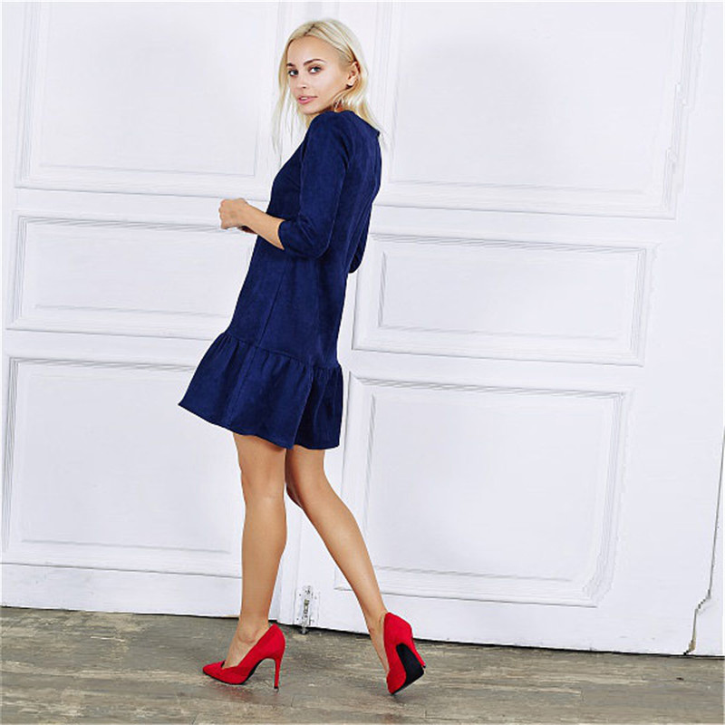 Fall 2018 Women Suede Casual Three Quarter Sleeve T Shirt Mini Dress Autumn Winter Fashion Vintage Ruffle Christmas Dresses 14