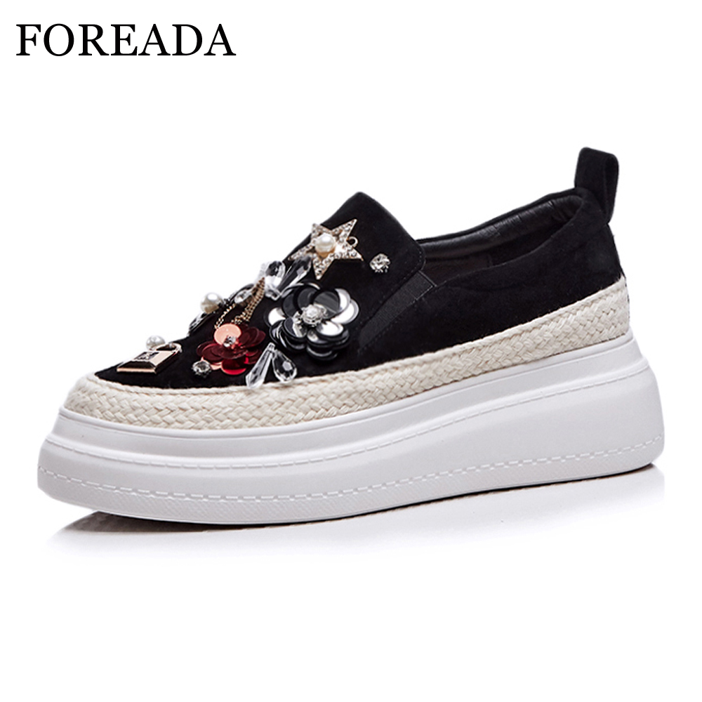 Foreada 여성 플랫 봄 신발 키즈 스웨이드 플랫 플랫폼 신발 라인 석 라운드 발가락 럭셔리 신발 여성 크리퍼 블랙 크기 4 39-에서여성용 플랫부터 신발 의  그룹 1