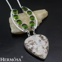 Amazing Christmas Gift Natural OceanJasper Peridot 925 Sterling Silver Necklace For Women Party Prom Handmade Jewelry NY635