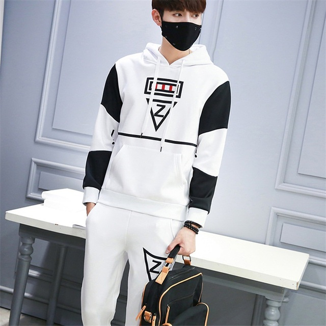 d616dbbfd09 Casual sporting suit men hooded tracksuit track hidden suspenders Black  men s sweat suits set Pockets white