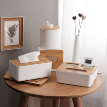 Home Kitchen Wooden Plastic Tissue Box Solid Wood Napkin Case Holder Case Simple Stylish car box tissue holders tissue holder 1 set christmas top grade gift acrylic tissue box black square creative waterproof simple european napkin holder car tissue box