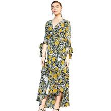 Fashion Women Dress 2019 New V-neck Open Back Bow Tie Stitching High Waist Slim Print Dress Female Summer vertical striped bow tie open back cami dress