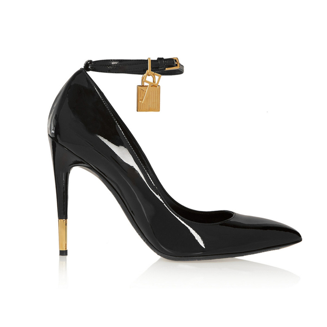 767f043ec6 Fashion Pointed Toe Patent Leather Ankle Strap Black Shoes Women Pumps  Golden Lock High Heels