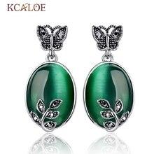 KCALOE Big Green Opal Earrings Natural Stone Vintage Retro Black Rhinestone Zircon Butterfly Leaf Piedras Verdes Dangle Earrings