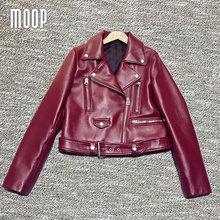 Wine red genuine leather jackets women 100%Lambskin motorcycle jacket veste cuir veritable pour femme jaqueta de couro LT503