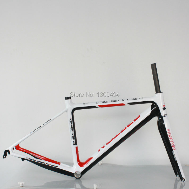 2016 New Carbon Road Frame Model:KQ-RB106R 700C Logos Finish Fork Included Factory Oulets  Red + White +  Carbon Fiber Black