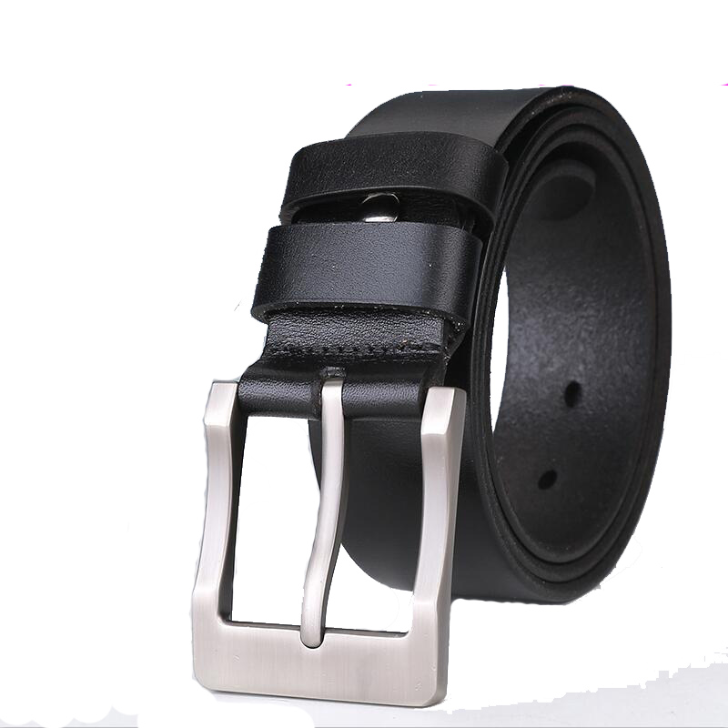 2017 now Men belts designer high quality genuine cowskin leather pin alloy buckles belt man Skin