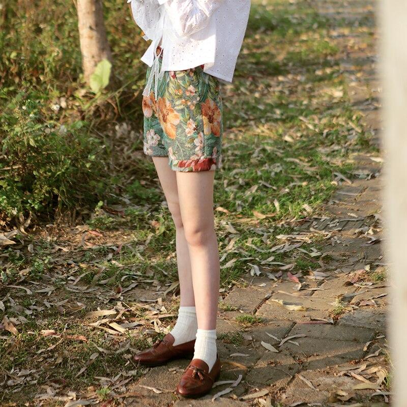 Conception Shorts Vert Automne Chinoiserie Taille Jacquard Femmes Vintage Printemps Originale Lynette's Haute x67wqtPx