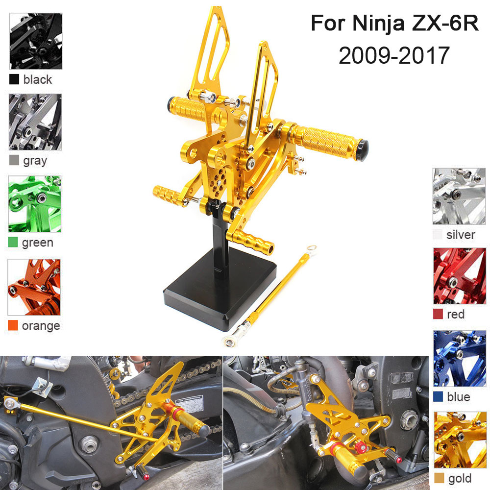 CNC Aluminum Adjustable Rearsets Foot Pegs For Kawasaki Ninja ZX-6R ZX6R 2009 2010 2011 2012 2013 2014 2015 2016 2017