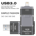 Unidad flash usb 3.0 otg para iphone 5/5s/5c/6/6 plus/7/ipad usb pendrive Mini-Stick USB del Metal de Destello 64 GB 32 GB Pen Drive USB Flash