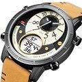 KAT-WACH, роскошные Брендовые мужские часы, кожаные, для бизнеса, спортивные, кварцевые часы, мужские, светодиодный, цифровые часы, водонепрониц...