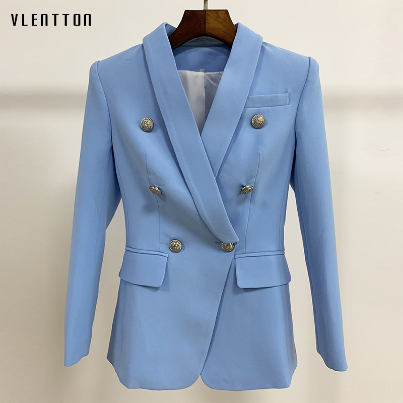 High Quality 2019 Formal Slim Blazer For Women Silver Lion Buttons Double Breasted Office Ladies Blazers Jacket Coat Veste Femme