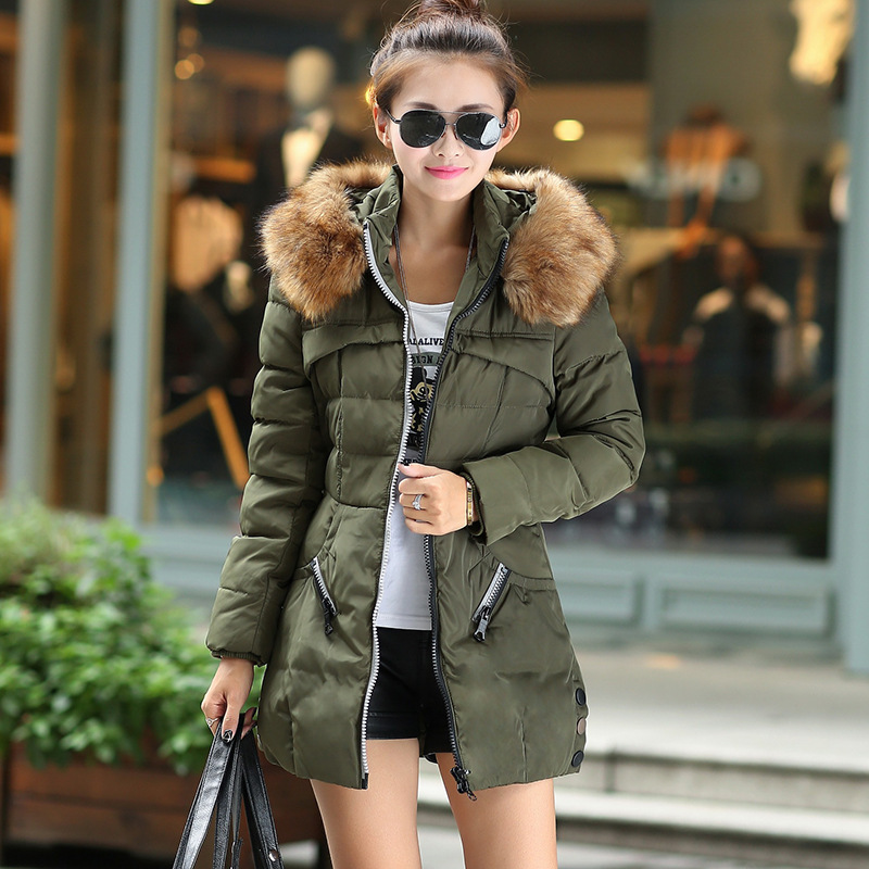 Подробнее о 2017 New Winter Women Casual Thick Warm Hooded Cotton Silm Army Green fur collar outwear jacket women down parkas coats 4XL winter jacket men coats thick warm casual fur collar winter windproof hooded outwear men outwear parkas brand new