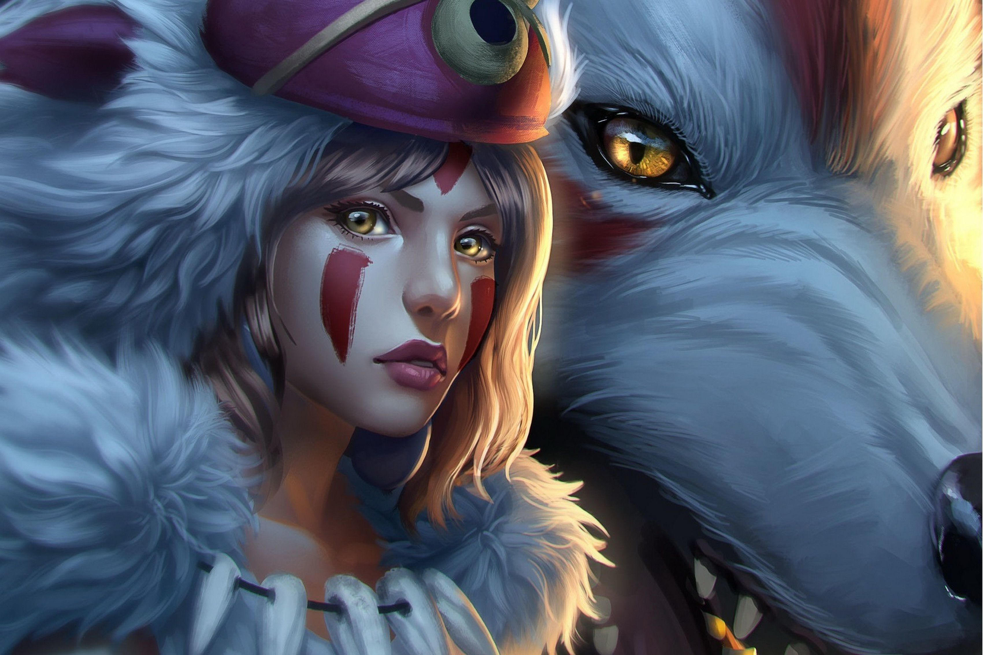 Home Decoration Princess Mononoke Art Anime White Wolf