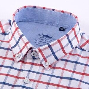 Image 2 - 남성 캐주얼 두꺼운 옥스포드 코튼 체크 무늬 스트라이프 셔츠 싱글 패치 포켓 긴 소매 표준 맞춤 버튼 다운 체크 무늬 셔츠