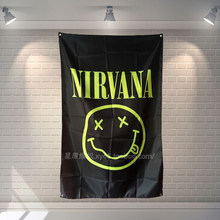 """NIRVANA"" Rock Band Bandiera Panno Musica Banner & Accessori Autoadesivo Della Parete Bar Biliardo Sala Studio Theme Wall Hanging Decoration(China)"