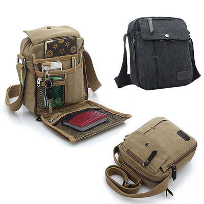 Men s Vintage Canvas Leather Satchel School Military Shoulder Bag Messenger Bag