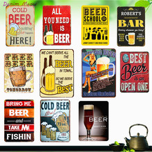 Ice Cold Beer Plaque Vintage Metal Signs SAVE WATER DRINK BEER Retro Wall Art Poster Pub Cafe Club Bar Home Decor Mix Order WY31