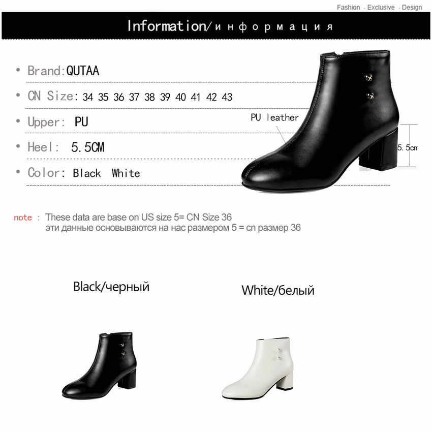 QUTAA 2019 Kadın yarım çizmeler Moda Fermuar Kare Ayak Siyah Tüm Maç Kare Yüksek Topuk platform ayakkabılar Kadın Botları Boyutu 34- 43
