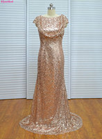 New Cap Sleeve Gold Scoop Short Sleeves Sequin Long Bridemaid Dresses Stain Custom Made Long Appliques Bridesmaids Dress 2017