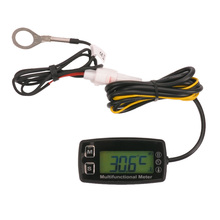 Digital tach hour meter theomometer temp meter for gas engine motorcycle marine jet ski buggy tractor