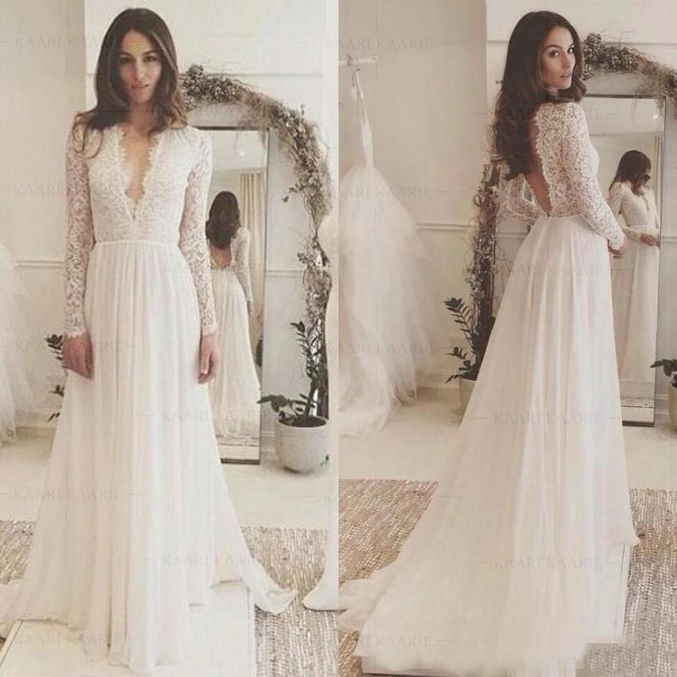 Boho Beach Lace Chiffon Wedding Dress A-Line Long Sleeve Deep V Neck Bridal Gown