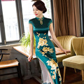 Новый Зеленый Длинные Стройные Женщины Cheongsam Dress Китайские Дамы Атласная Qipao новинка Сексуальная Цветок Dress Размер S M L XL XXL XXXL F080918