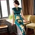 New green largo mujeres delgadas señoras del satén cheongsam dress chino qipao novedad sexy flor dress tamaño sml xl xxl xxxl F080918
