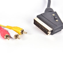 1.5m Golden Head Patch Board Plug Public TO Public Wire Audio Cable SCART TO 3RCA Broom Head Wire True Plating(China)