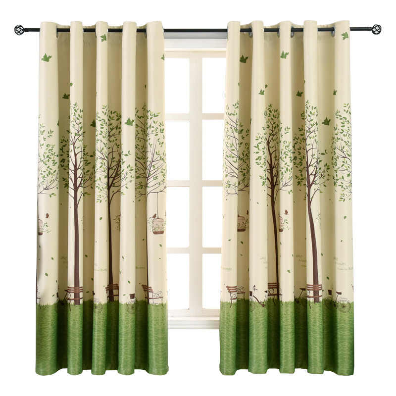 Modern Printed Tree Short Curtains for Kids Bedroom Children's Room Window Treatments Drape for Living Room