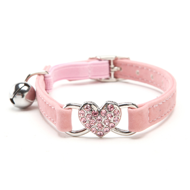 Kitten Heart Charm and Bell Collar Safety Elastic Adjustable With Soft Velvet 5 Colors  3