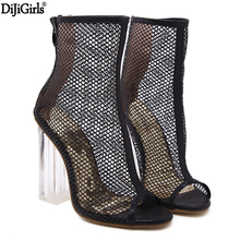 Ladies Transparent Square High Heel Sandals Sexy Peep Toe Mesh Ankle Boots Summer High Heels Sandals Women Size 34-40 арментроут д возвращение
