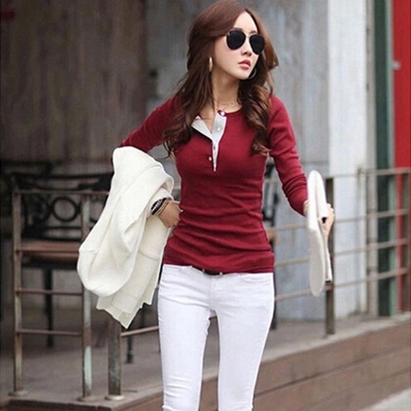 64185f0ca WJ الخريف الكورية أزياء المرأة كم طويل ابيض البلوزات زر تي شيرتات قطن عارضة  مثير ضئيلة Bodycon قمم سترة بلوزة