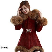 купить Thicken fur faux fur coat female Korean version of the fashion Slim in the long hooded raccoon fur fur coat  womens fur jacket по цене 3395.94 рублей